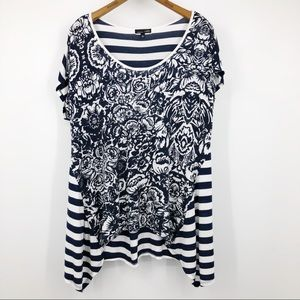 RXB Asymmetric Tunic Top T Floral Stripe Navy Blue